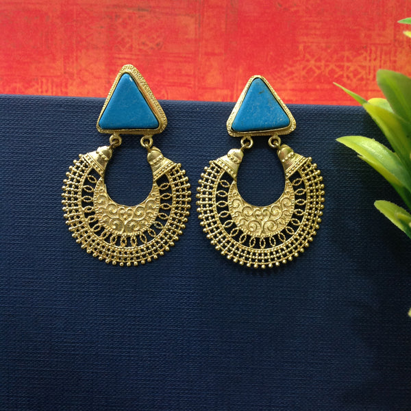 Turquoise Chandbali Earrings