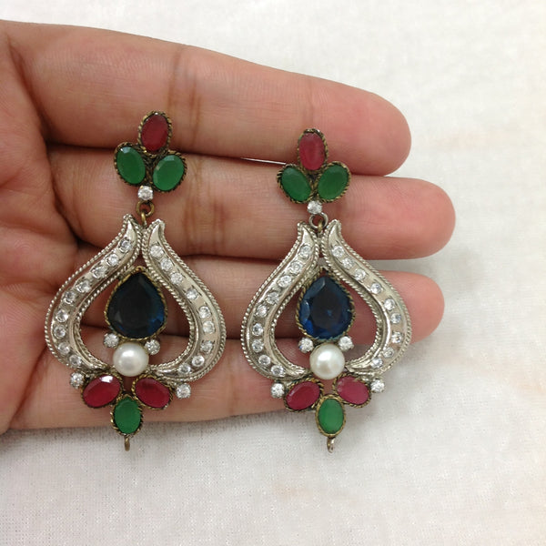 Decorative Silvery Blue Green and Red Pearl Earrings