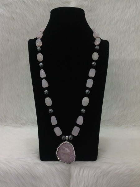 Charming Crepe Pink Gemstones With Drop Pendant Necklace