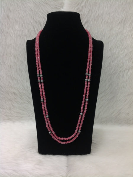 Cerise Ruby Pink Two-stranded Necklace