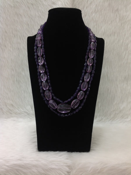 Eggplant Purple Amethyst Beads Necklace