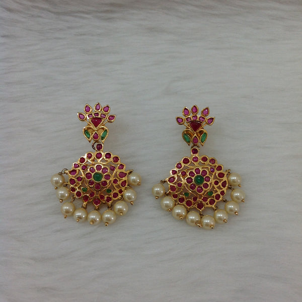 Gorgeous Gold Plating With Gemstones And Pearls Earrings