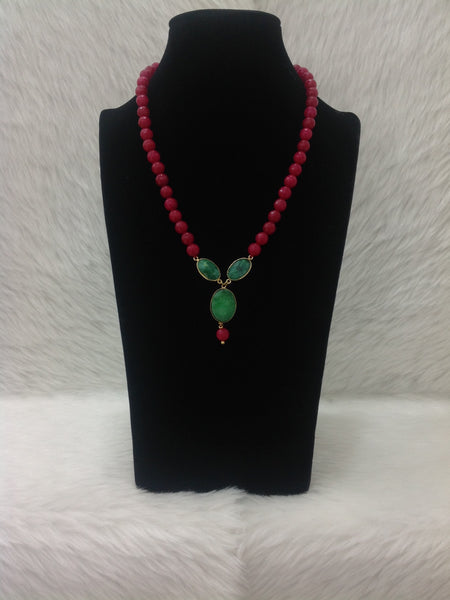 Radiant Rouge Red Gemstones With Druzy Pendant  Necklace