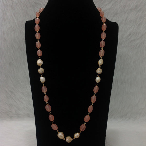 Precious 1 Stranded Peach Gemstones With Pearl Crystal Necklace