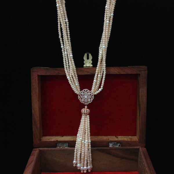 Awesome Oyster Cream Crystals With CZ And Tassel Necklace