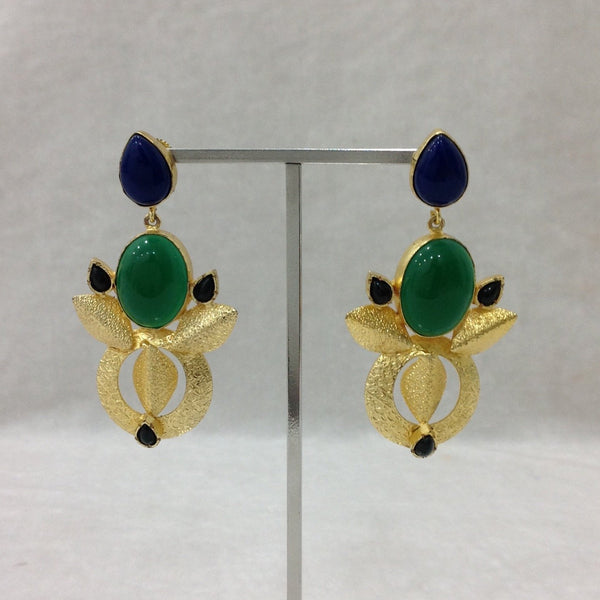 Gorgeous Green Blue Ethnic Long Earrings