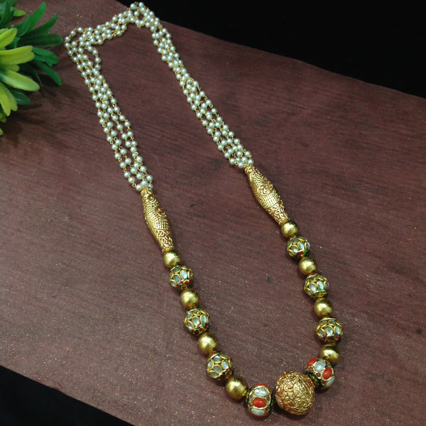 Gorgeous Golden and Jadau Beads With Pearl Necklace