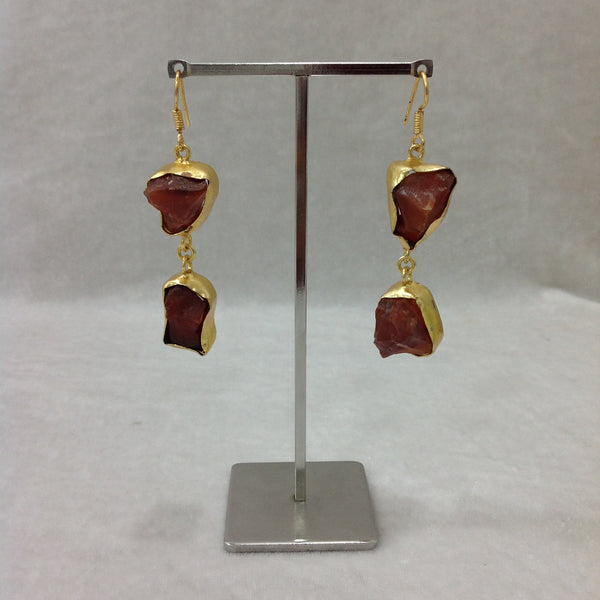 Brown and gold semi-precious Earrings