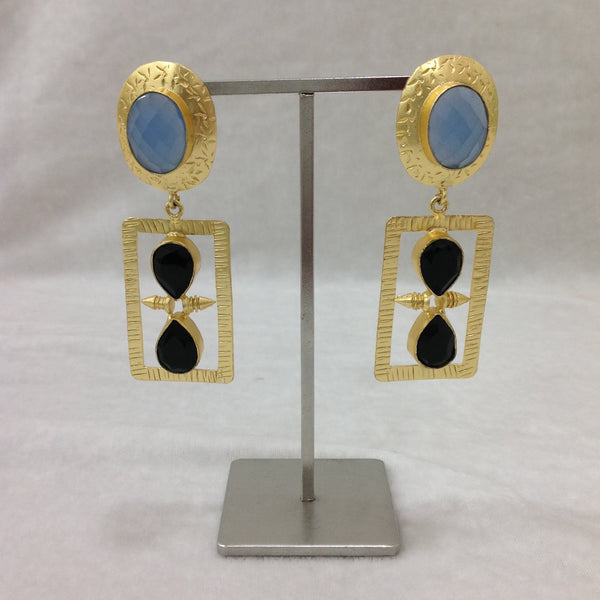 Blue Chalcedony and Black Onyx Stone Long Earrings