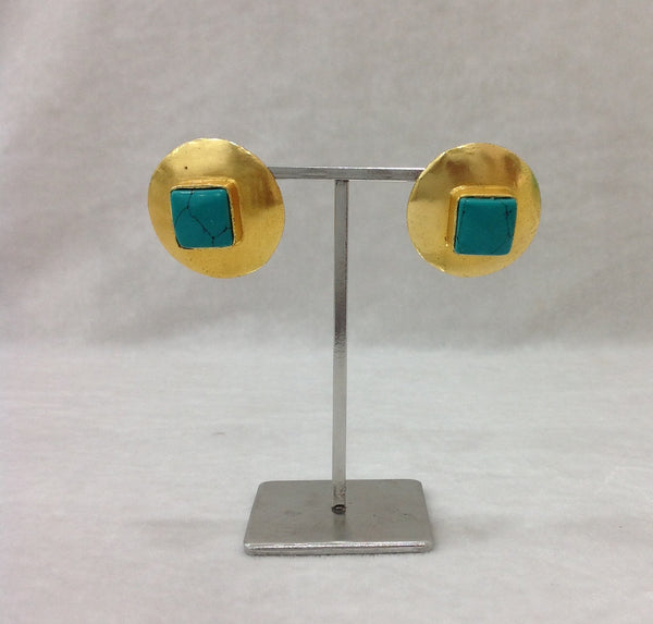 Turquoise and Gold Semi-precious Earnings