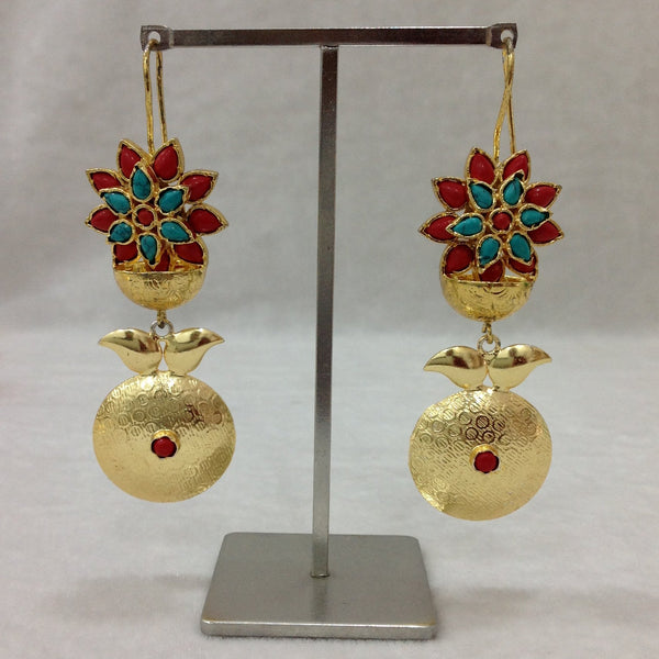 Coral Red and Turquoise Glamourous Dangler Earrings