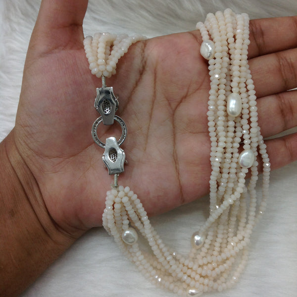 Multi-stranded White & Freshwater Pearl Necklace