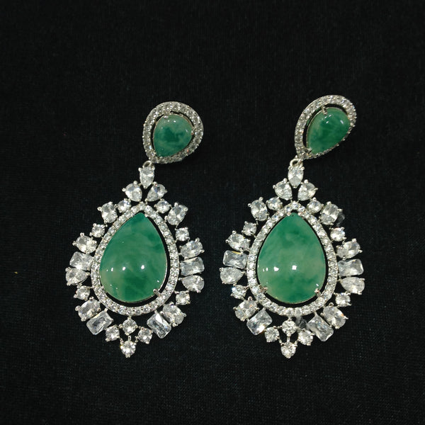 Splendid Seafoam Green Crystal And Gemstone Damsel Earrings