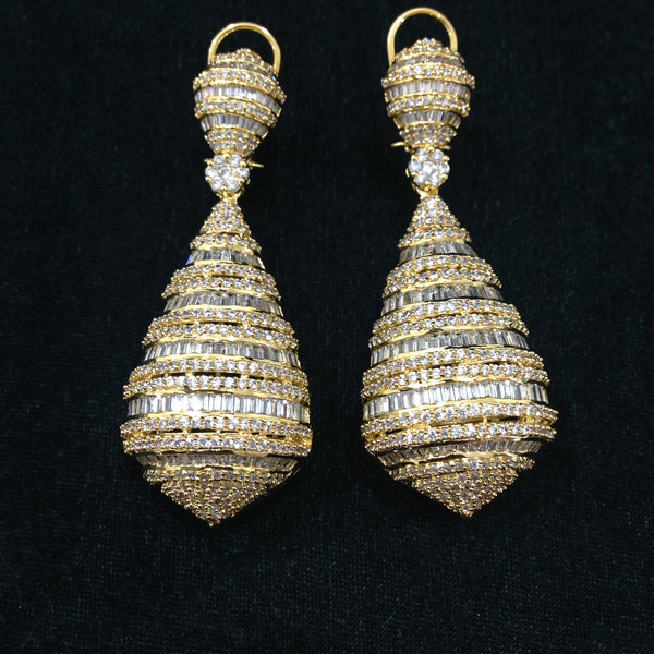 Antique Gold & Cubic Zircon Studded Earrings