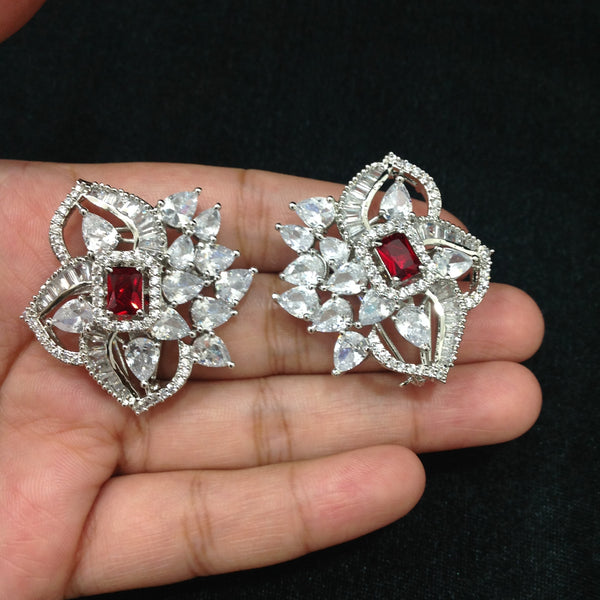 Spherical Floret Ruby Red Stone With Crystal Earrings