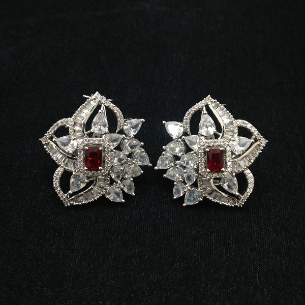 Spherical Floret Ruby Red Stone With Crystal Stud Earrings