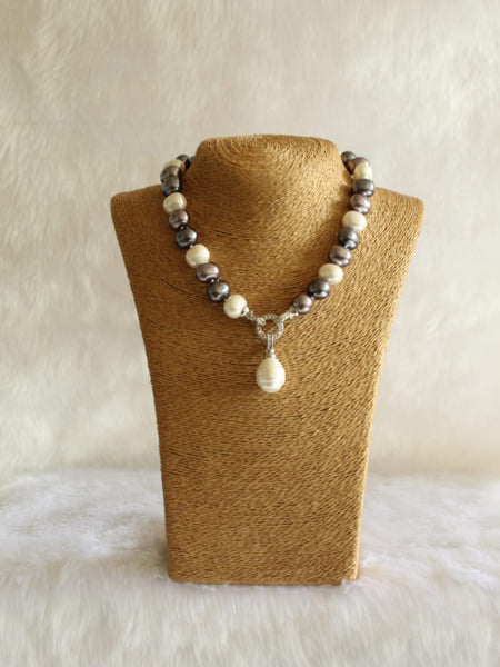 Magnetic Mix Shade Pearl And Crystal Necklace