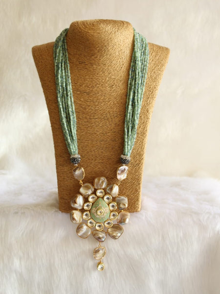 Glorious Green Gemstones And Kundan With Drop Pendant Necklace