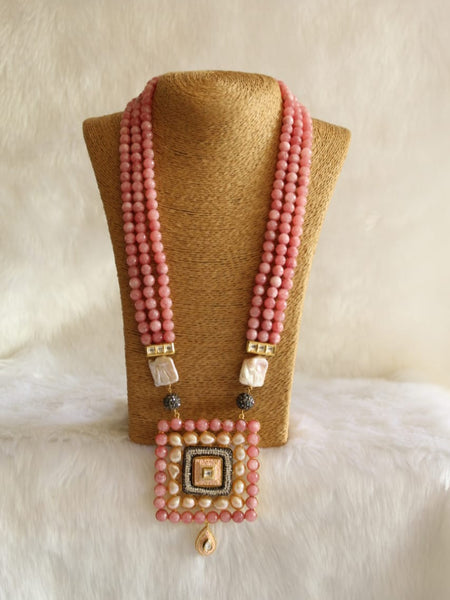 Crescent Coral Pink Gemstone With Crystal Necklace