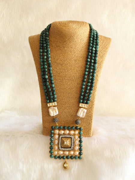 Deligated Dark Green Gemstone With Crystal Necklace