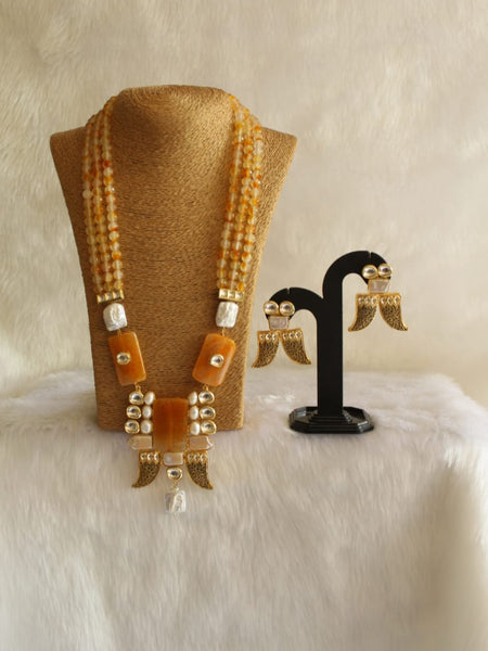 Splendid Shades Of Orange Gemstones And Kundan Necklace Set