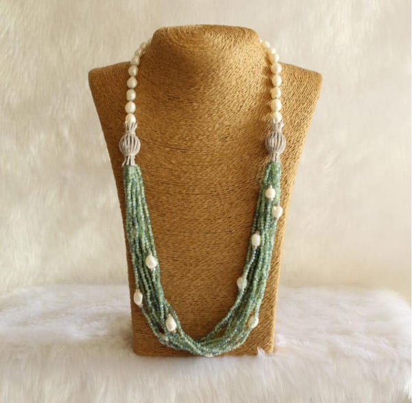 Multi-Stranded Mix Green and Blue Seed Beads Freshwater Pearl Necklace