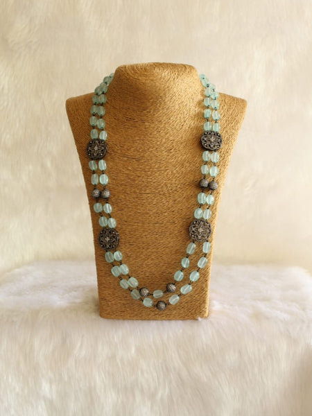 Beauticious Baby Blue Gemstones With Crystal Necklace