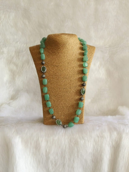 Captivating Fern Green Gemstones Crystal Necklace