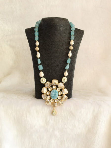 Timeless True Blue Gemstones Pearls Necklace