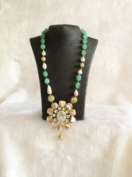 Scintillating Seafoam Green Gemstones Pearls Necklace