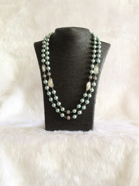 Mingling Green and Baroque Pearls Necklace