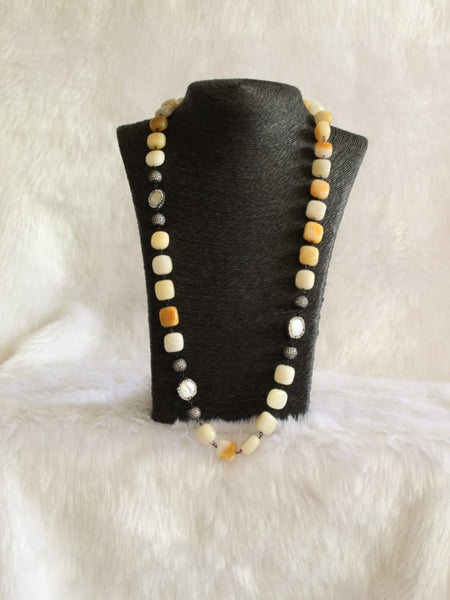 Canary Yellow Gemstones and Baroque Pearls Necklace