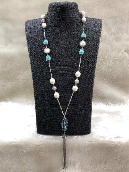 Turquoise Blue Synthetic Coral Beads Tassels Necklace