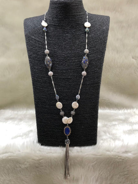 Smashing Blue Gemstones Tassels Necklace