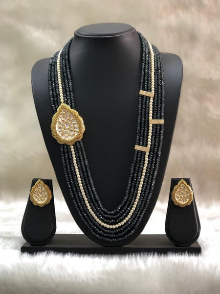 Multi-Stranded Black Beautiful Meenakari Necklace Set