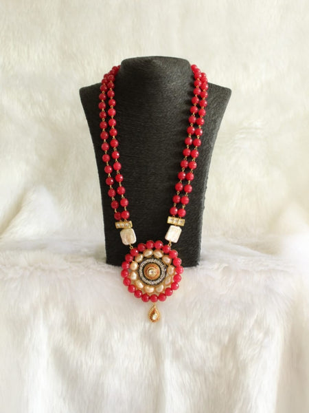 Red Gemstones with Beautiful Meenakari Crystal Necklace