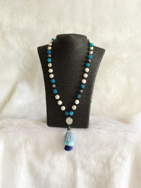 Turquoise Blue Gemstones Threaded Tassels Necklace