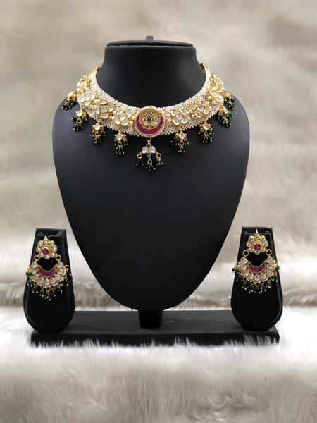 Priceless Kundan With Full Moon Choker Necklace Set