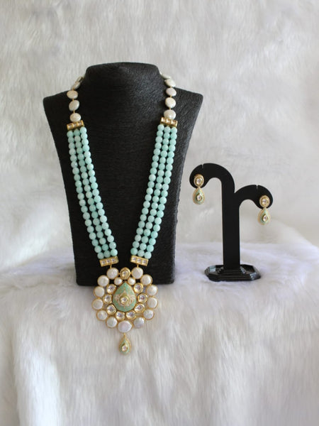Marvellous Mint Green Gemstones And Pearl With Kundan Necklace Set