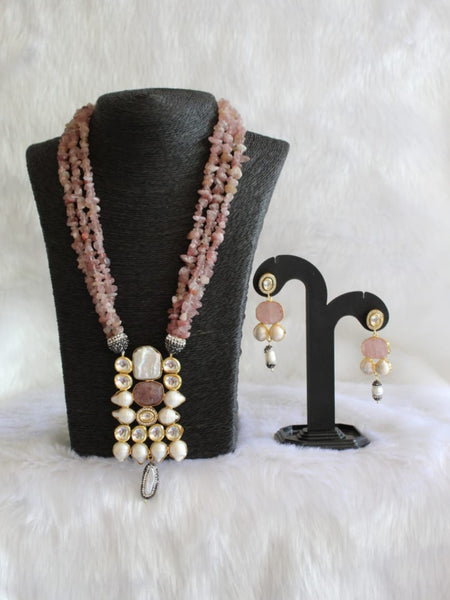 Radiant Rosewood Pink Gemstones And Pearls Necklace Set
