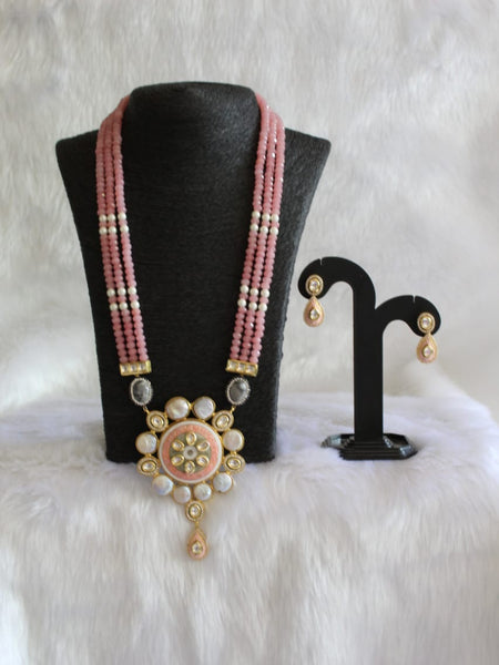 Wondering Watermelon Pink Gemstone And Pearls Necklace Set