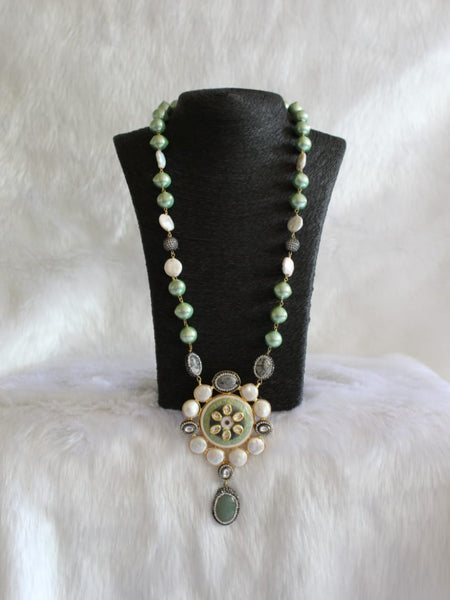 Magnificant Mint Green Pearl With Floweret Pendant Necklace