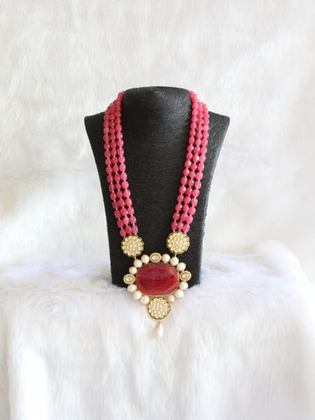Radiance Red Gemstones With Floweret Pendant Necklace