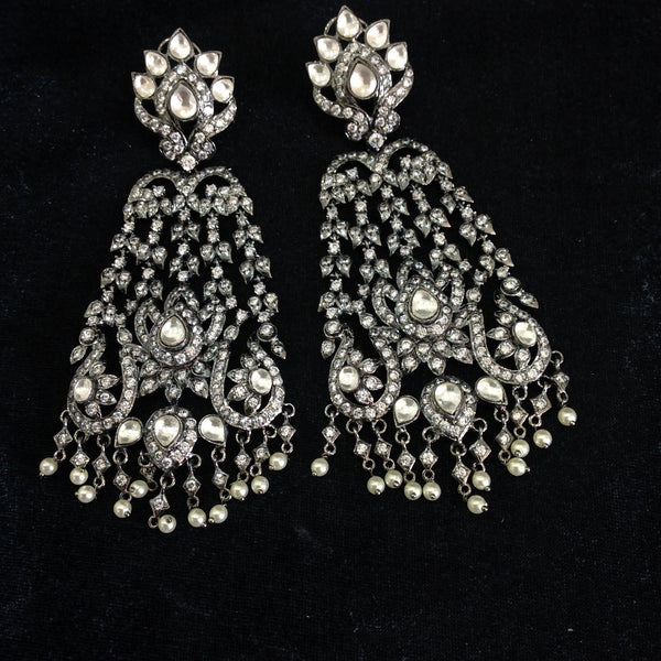 Dazzling Black with Crystals Long Earrings