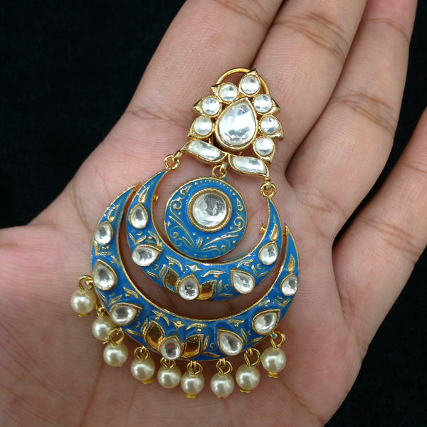 Joyous Blue Enamel Kundan & Pearl Earrings