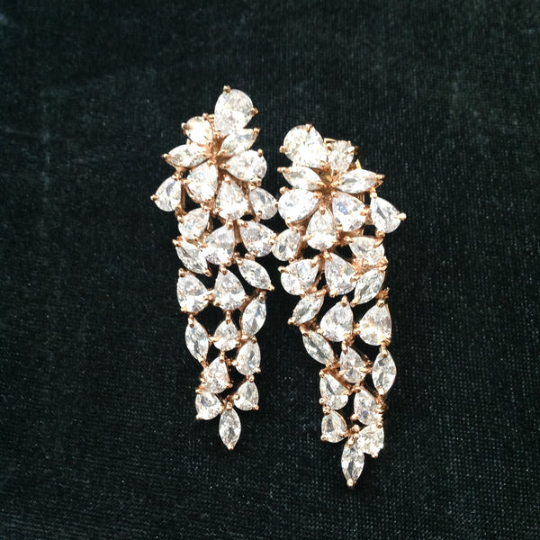 Beautiful Raindrop Rose Gold Crystal Damsel Earrings