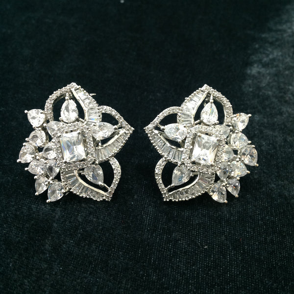 Spherical Floret With Crystal Stud Earrings
