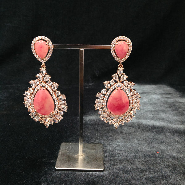 Radiant Pink Crystal Rose Gold Damsel Earrings