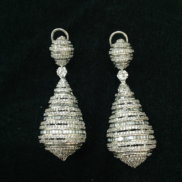 Antique Cubic Zircon Studded Long Earrings