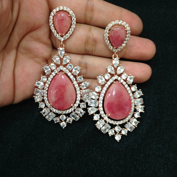 Radiant Pink Crystal Rose Gold Damsel Long Earrings